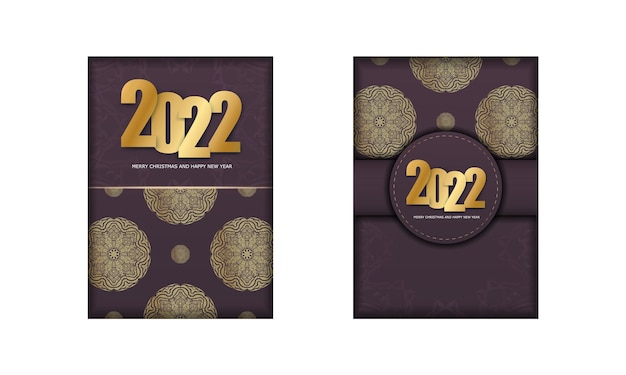 Postcard template 2022 happy new year burgundy color with luxury gold ornaments