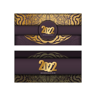 Postcard template 2022 happy new year burgundy color with luxury gold pattern