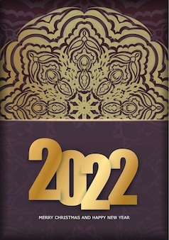Postcard template 2022 happy new year burgundy color with vintage gold ornament