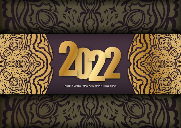 Postcard template 2022 happy new year burgundy color with vintage gold pattern