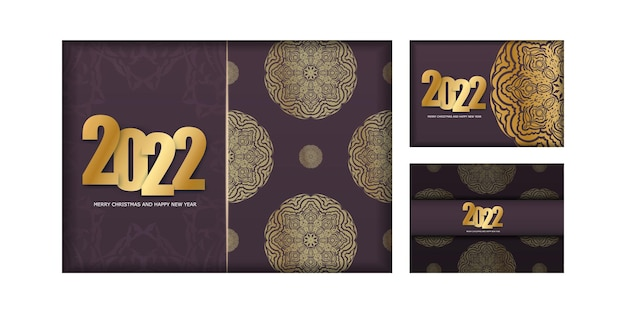 Postcard template 2022 merry christmas burgundy color with abstract gold pattern