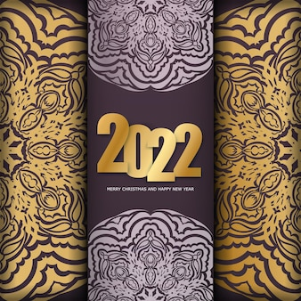 Postcard template 2022 merry christmas burgundy color with luxury gold ornaments