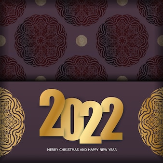Postcard template 2022 merry christmas burgundy color with vintage gold pattern