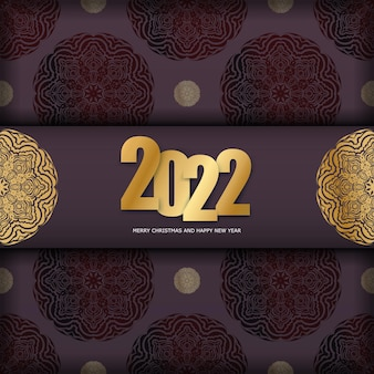 Postcard template 2022 merry christmas burgundy color with winter gold pattern