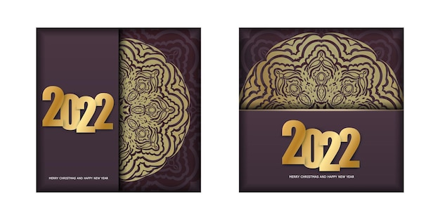 Postcard template 2022 merry christmas and happy new year burgundy color with vintage gold pattern
