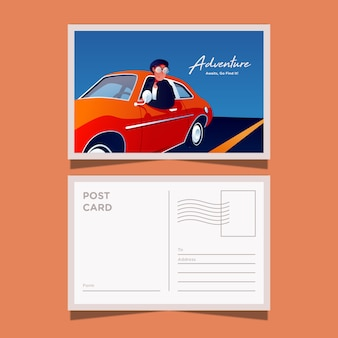 Postcard template of adventure with classic car