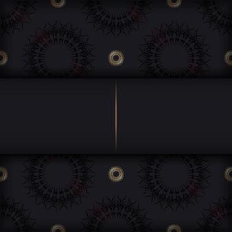 ゴールドの曼荼羅飾りが付いた黒い色のポストカードテンプレート