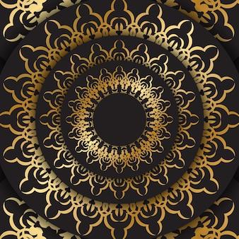 ゴールドの曼荼羅模様の黒い色のポストカードテンプレート