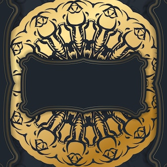 Шаблон открытки в черном цвете со старинным золотым орнаментом для вашего поздравления.