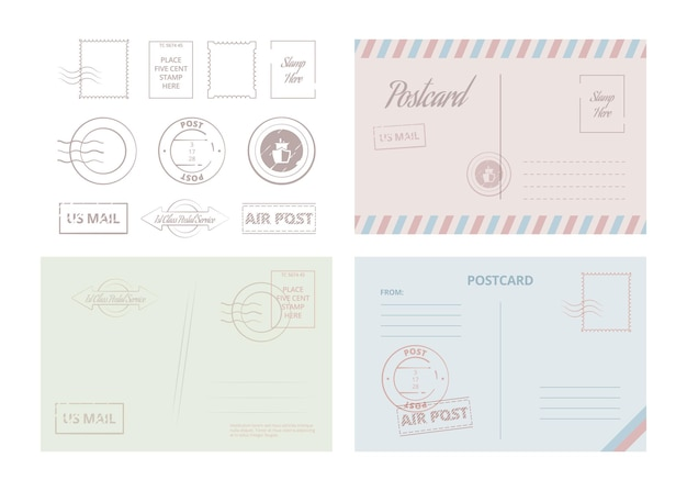 Postcard template. vintage travel cards and letters with frames and borders vector illustrations. border letter and correspondence postcard, mail postage