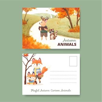 水彩風の秋の動物とポストカードテンプレート