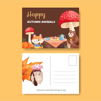 Postcard template with autumn animal in watercolor style