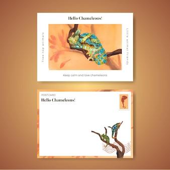 水彩風のカメレオントカゲとポストカードテンプレート