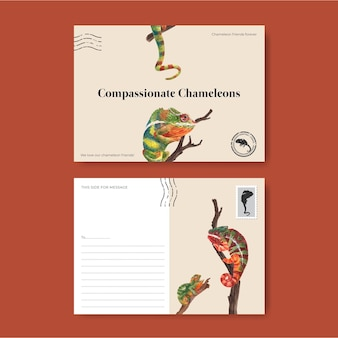 Postcard template with chameleon lizard in watercolor style