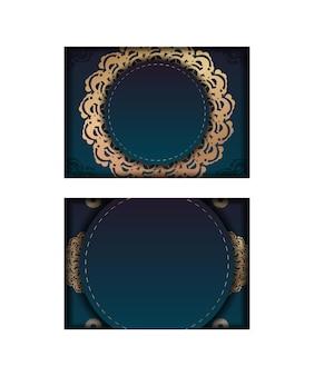 디자인을 위한 고급 금색 패턴이 있는 그라데이션 녹색 색상이 있는 엽서 템플릿.