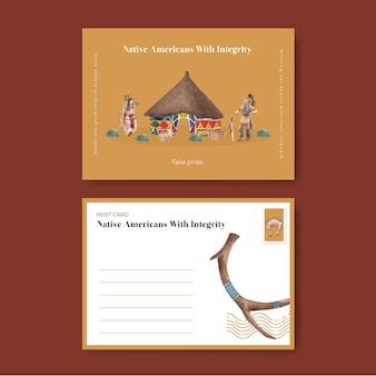 수채화 스타일의 아메리카 원주민이 있는 엽서 템플릿