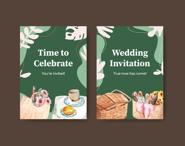 挨拶と招待状の水彩イラストのピクニック旅行コンセプトデザインのポストカードテンプレート