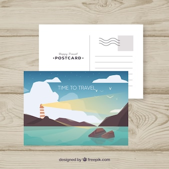 Postcard template with travel concept