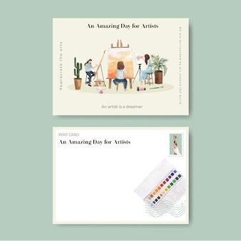 Шаблоны открыток с международным днем художника в стиле акварели