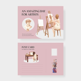 Postcard templates with international artists day in watercolor style