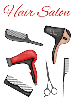 Postcard for text with a set of beauty items. cartoon style. vector illustration.