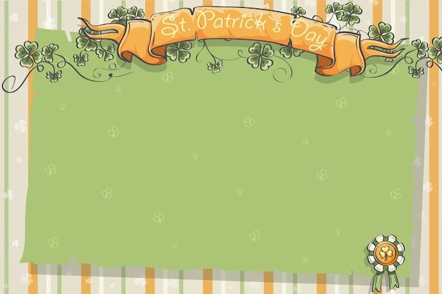 클로버 잎과 리본이 달린 성 패트릭의 날 엽서