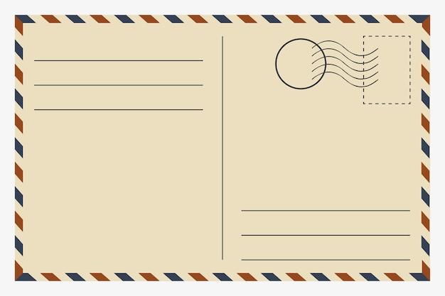 はがき。ヴィンテージテンプレート。レトロな切手カード。ベクトルイラスト。