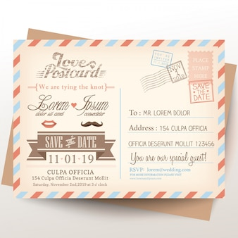 Postcard for wedding invitations