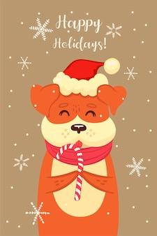 かわいいクリスマスの犬とのポストカード。