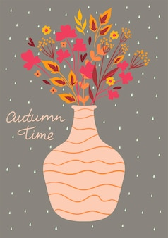 Postcard with an autumn bouquet in a vase. vector graphics.