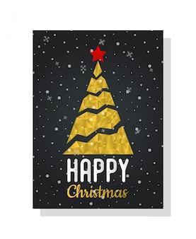 多角形、ゴールデングリッチのクリスマスツリーがある郵便はがき Premiumベクター