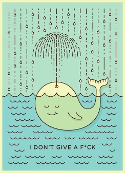 Postcard with cute careless whale baby swimming in the sea under rain making umbrella out of his fountain.