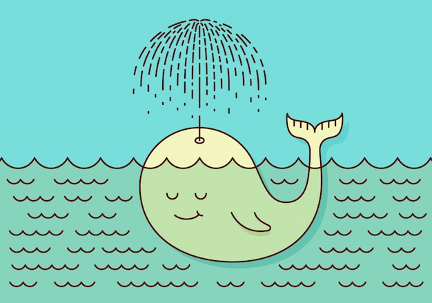Postcard with cute careless whale baby swimming in the sea under rain making umbrella
