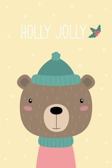 A postcard with a cute cartoon bear holly jolly a teddy bear in a hat and scarf