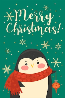 Postcard with cute christmas penguin.