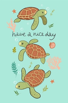 Postcard with cute sea turtles. vector graphics.