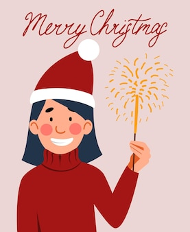 A postcard with a darkhaired girl in a santa claus hat holding a sparkler in her hand