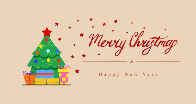 A postcard with a decorated christmas tree and gift boxes  lettering merry christmas