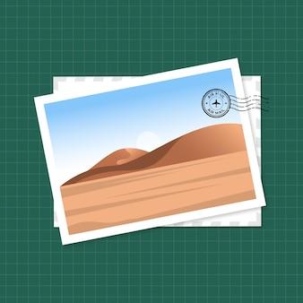 砂漠のイラストが描かれたポストカード
