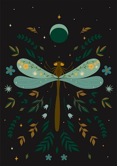 Postcard with a dragonfly in boho style. vector graphics.