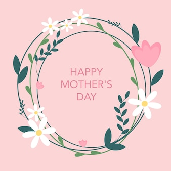 Postcard with flowers happy mothers day vector
