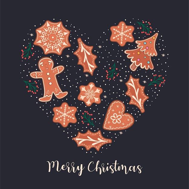진저 쿠키와 비문 메리 크리스마스 엽서.