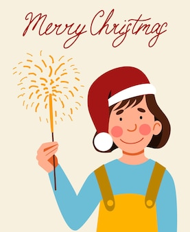 A postcard with a girl in a santa claus hat holding a sparkler in her hand