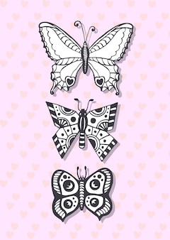Postcard with hand drawing butterflies. cute greeting card. coloring page.