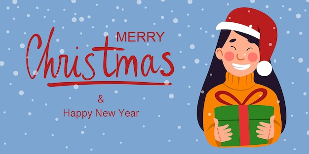 A postcard with a happy santa claus and the inscription merry christmas