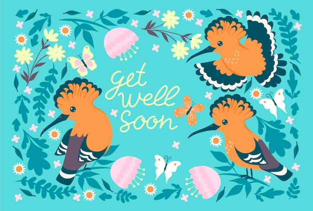 Postcard with hoopoe and the inscription get well soon.