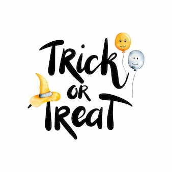 Postcard with lettering trick or treat. halloween watercolor illustration isolated on white background