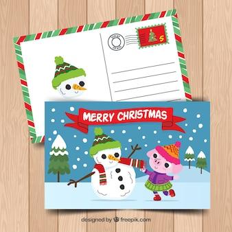 Postcard with nice christmas animal