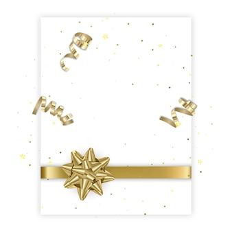バレンタインや結婚式の日の金の弓のグリーティングカードで飾られたテキストのためのスペースのはがき
