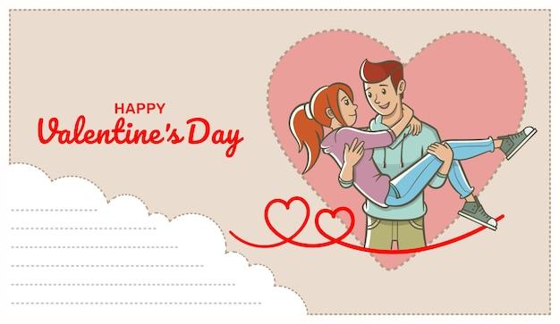 テキストフィールドと彼の腕の中で女性を運ぶ愛情のある男性とはがき。バレンタイン・デー。